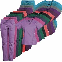 Medgear 14-Pocket Women's Stretch Medical Scrubs Set with