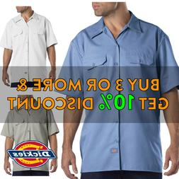 DICKIES 1574 MEN'S CASUAL WORK SHIRTS BUTTON FRONT SHORT SLE