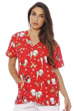 Just Love 216VG-1-1X Women's Scrub Tops/Holiday Scrubs/Nursi