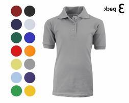 3 Pack Boys School Uniform Polo Shirts Sizes 4-20