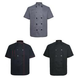 3x Lot TopTie Short Sleeve Chef Coat Jacket Pack Unisex Kitc