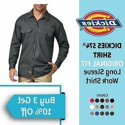 DICKIES 574 Men's Long Sleeve Work Shirt Button Front Active