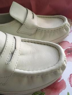 ON SALE! Nurse Mates 8 M White Pennies Leather Loafer Wedge