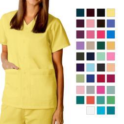 Adar Women Doctor Nurse Short Sleeve Snap Front V Neck Doubl