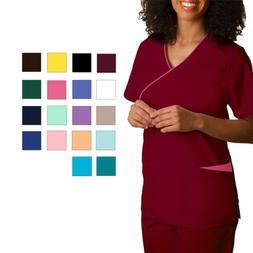 Adar Women Medical Nursing Scrub Uniform V Neckline Mock Wra