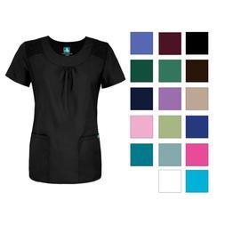 Adar Women's Medical Nurse Uniform Scoop Neck 2 Pocket Solid