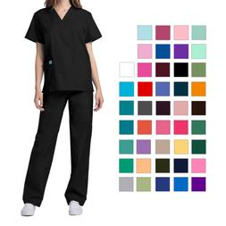 Adar Women's Medical Nursing Doctor Scrub Set Uniform V-Neck