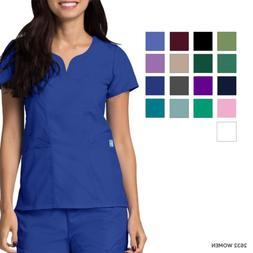 Adar Women Short Sleeves Curved Pocket Workwear Scrub Top Un
