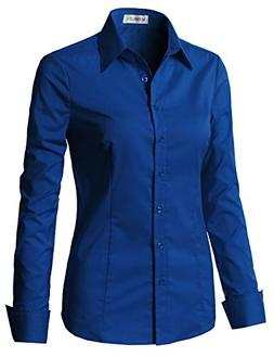 CLOVERY Women's Basic Long Sleeve Slim Fit Button Down Royal