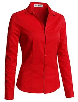 CLOVERY Women's Basic Simple Long Sleeve Slim Fit Button Dow