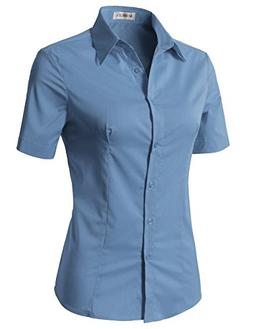 CLOVERY Women's Basic Stretchy Cotton Button Down Shirts Den