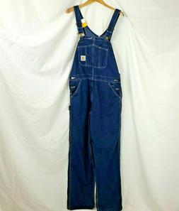 Carhartt Bib Overalls Mens Size 36 x 34 Washed Denim Jeans P