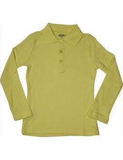 French Toast - Big Girls' Long Sleeve Interlock Polo, Yellow