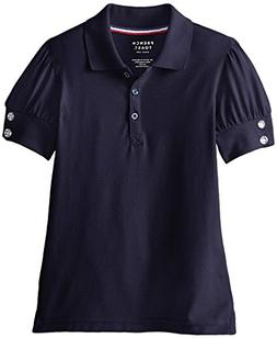 French Toast Big Girls' Puff Sleeve Double Button Polo, Navy