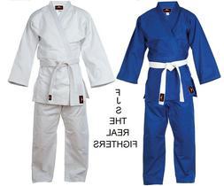 Judo Uniform GI Single Weave 450 gram White Blue +FREE Belt