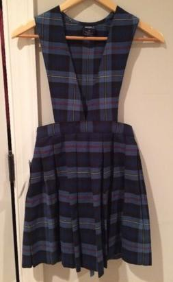 French Toast Blue Red Plaid V-Neck Pleated Jumper For Girls