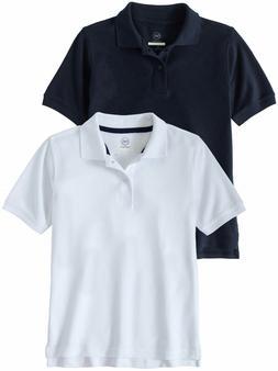 Wonder Nation Boys 2pk Blue/White School Uniform Short Sleev