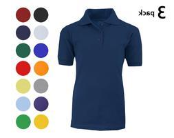 Boys 3 Pack Polos School Uniform Shirts Short Sleeve Tagless