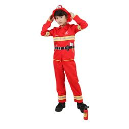 Boys Firefighter Fireman Costume Halloween Party Kids Fancy