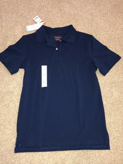 Boys Navy Blue School Uniform Polo Shirt Size Large L  *NEW
