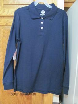 Wonder Nation Boys School Uniform Long Sleeve Blue Cove Polo
