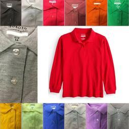 George Boys School Uniforms Long Sleeve Pique Polo Shirt siz