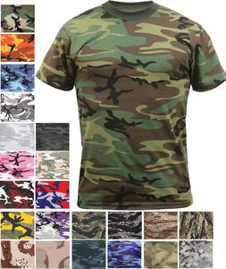Camo T-Shirt Tactical Tee Short Sleeve Military Army Camoufl