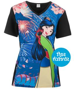Cherokee Tooniforms Disney Princess Mulan Scrub Top Sz XS-XX