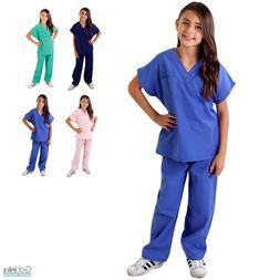 Children's Kids Soft Touch Scrubs Set Top & Pants Uniform Bo