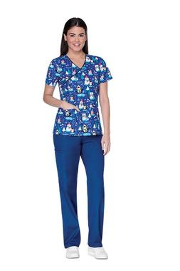Cherokee Christmas Mock Wrap Scrub Top  CK614-SIGO