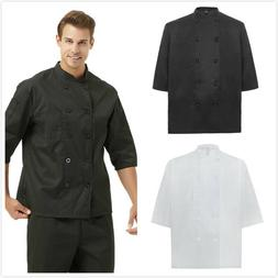 TopTie Classic Chef Coat 3/4 Sleeve Uniform Jacket Restauran