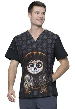 Coco Cherokee Scrubs Tooniforms Disney Mens V Neck Top TF700