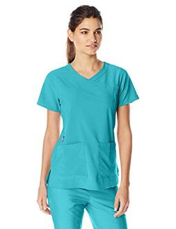 Carhartt Women's Cross-Flex Yneck Scrub Top, Cyan, 2X-Large
