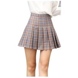 DAZCOS US Size Plaid Skirt High Waist Japan School Girl Unif