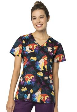 Disney Lion King by Cherokee V-Neck Scrub Top  TF638-LKFP