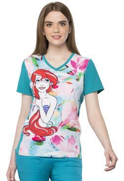 Disney Little Mermaid Scrubs by Cherokee V Neck Top TF627 PR