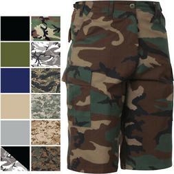 Extra Long Cargo Tactical Shorts Camo BDU Uniform Military F
