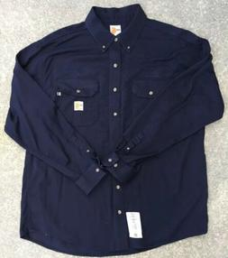 CARHARTT FLAME/FIRE RESISTANT NAVY BLUE WORK SHIRT SIZE XL R