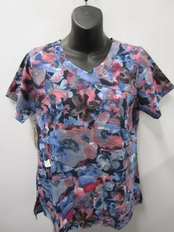 Carhartt Flex Scrub Top Women Blue Pink Watercolor Sz XL NWT