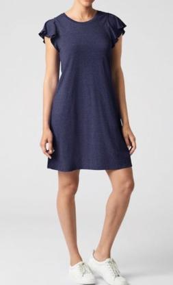Gap Flutter Sleeve Swing Dress Women`s navy uniform Jersey M
