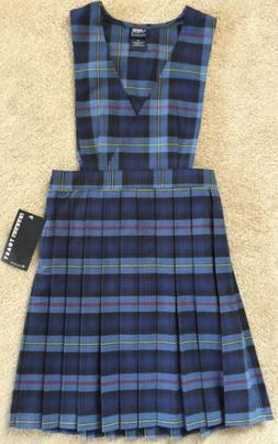French Toast Blue/Red Plaid V-Neck Pleated Jumper For Girls