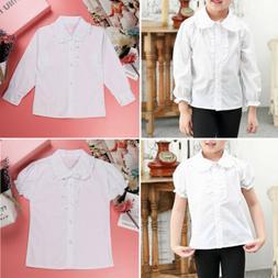 Girl Kids School Uniforms Long/Short Sleeve Dress Shirt Fril