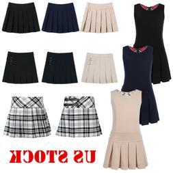 Girl Pleated Skirt Kid School Uniform Pinafore Jumper Dress