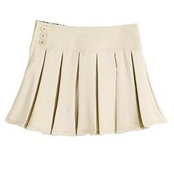 Bienzoe Girl's Pleated Hem School Uniform Skirt Khaki 8