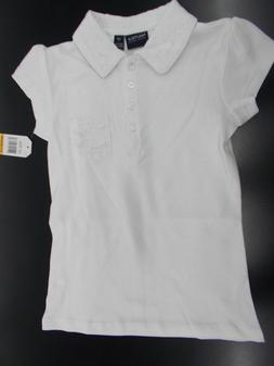 Girls Nautica $24 White Uniform Polo Shirt w/ Lace Size 7 -
