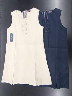 Girls Nautica $36 Navy or Khaki Uniform Jumper Dresses w/ Ru