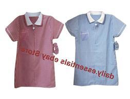 Girls Kids School Gingham Dress Uniform Check Summer Blue Re