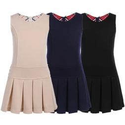 girls kids stretchy pleated skirt uniforms pinafore