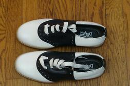 girls new white and black saddle oxford