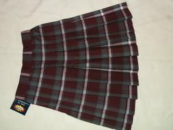 French Toast Girls Plaid Uniform Pleated Skirt Grey Burgundy